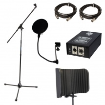 HOME STUDIO ACCESSORIES SET CABLE STAND MICRO CABLE XLR JACK PHANTOM POWER 48 ANTI POP REFLEXION FILTER  WOODBRASS Home studio accessories  FULLPACK ACCESSOIRES HOME STUDIO