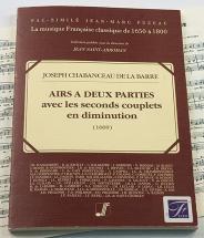 Chabanceau De La Barre J. - Airs A Deux Parties, Avec Les Seconds Couplets En Diminution