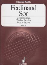 Sor Fernando - 12 Etudes Op.29 Guitare