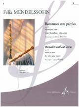 Mendelssohn-bartholdy F. - Romances Sans Paroles Op. 19 Vol.1 - Hautbois, Piano