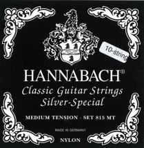 Hannabach Cordes Guitare Classique Serie 815 Pour Guitares 8/10 Cordes - Medium Tension Silver Special Jeu 10