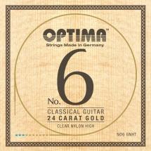 Optima Cordes Guitare Classique N°6 Or 24 Carats Set Carbon Gold Tension Haute