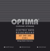Optima Cordes Pour Basses Electriques Chrome Strings Round Wound Long Scale Jeu