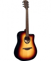 Lag Tramontane 70 Dreadnought Cutaway Electro Brown Burst