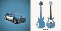 Guitare Electrique Lag Roxane Racing Bedarieux 2000 Vintage Blue Vintage Blue Bigsby