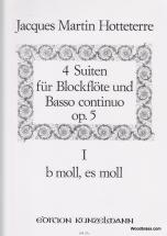 Hotteterre J.m. - 4 Suiten Für Blockflöte Und Basso Continuo Op.5 Vol.1