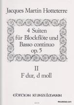 Hotteterre J.m - 4 Suiten Für Blockflöte Und Basso Continuo Op.5 Vol.2