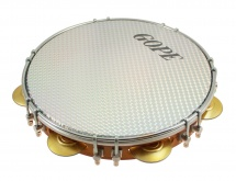 Gope Percussion Pa10d7hol-wh - Pandeiro 10 Tirants Doubles Peau Holographique Blanche