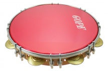 Gope Percussion Pa11d8hol-r - Pandeiro 11 Tirants Doubles Peau Holographique Rouge
