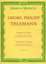 Telemann G.p. - Sonate En Majeur Twv 41:f2 - Flute A Bec Alto, Basse Continue