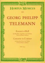 Telemann G.p. - Concerto En Mi Mineur Twv 52:e1 - Flute A Bec, Flute, 2 Violons, Alto, Basse Continu