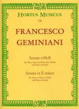 Geminiani F. - Sonate En Mi Mineur - Hautbois Ou Flute Ou Violon, Basse Continue