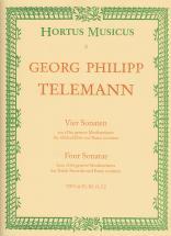 Telemann G.ph. - 4 Sonaten - Flute A Bec Et Bc