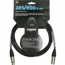 Klotz High End Aes/ebu Cable 2m Noir, Xlr 3p.f/m Klotz Ot2000 2x Gaine Thermo Transparente