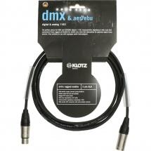 Klotz Aes/ebu and Dmx Cable Noir 3m Xlr 3p. F/m Klotz Avec Ot206 2x Gaine Thermo Transparente