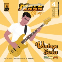 Markbass Mb4vgss45105ls 4 Strings Set Vintage Series Stainless Steel Flatwound 045 065 085 105
