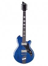 Supro 2022tb Westbury Guitare Electrique Baryton Finition Bleue Transparente