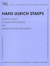 Staeps H.u. - Sonata C-moll - Flûte A Bec Alto Et Piano
