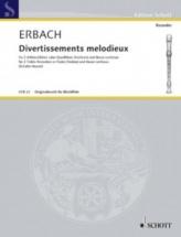 Erbach - 3 Divertissements Melodieux - 2 Flutes A Bec Alto and Bc