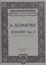 Schnittke Alfred - Concerto N°3 Pour Violon Et Orchestre A Cordes - Conducteur De Poche
