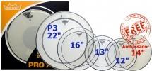 Remo Pp-0270-ps - Pack Pinstripe Transparente - 12/13/16 + 14 (ambassador Sablee) + 22 (powerstroke 3)