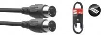 Stagg Cable Midi Din/din (m/m) 3 M Connecteurs En Plastique