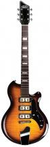 Supro Hampton Guitar Flame Maple Tobacco Sunburst