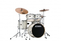 Tama Ie50h6w-vws - Imperialstar 20/10/12/14/14x5 + Meinl Mcs Cymbal 14/16/20 Vintage White Sparkle