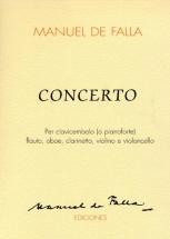 Manuel De Falla - Concerto Per Clavicembalo Flauto, Oboe, Clarinetto, Violino E Violincello - Score
