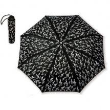 Vienna World Mini Parapluie Noir - Motif Clef De Sol Blanche