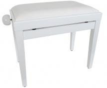 Woodbrass.com Kbe30 Wh Blanc Brillant Banquette Piano  - Finition Blanc Brillant + Pelote Velours Blanche Noel