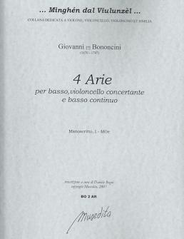 Bononcini G. - 4 Arie - Basse, Violoncelle Et Bc