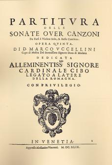 Uccellini - Partitura Delle Sonate Over Canzoni, Opera Quinta