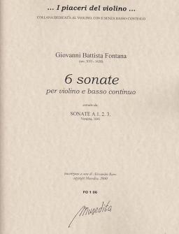 Fontana Giovanni Battista - 6 Sonate - Violon