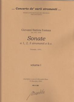 Fontana Giovanni Battista - Sonate  A 1, 2, 3 Strumenti E B.c