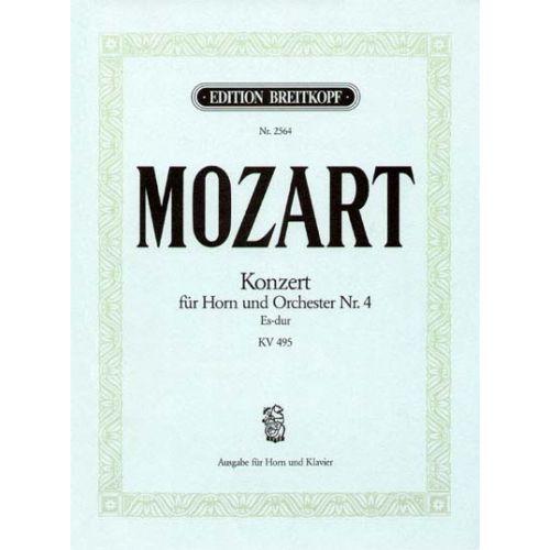EDITION BREITKOPF MOZART WOLFGANG AMADEUS - HORNKONZERT NR.4 ES-DUR KV 495 - HORN, PIANO