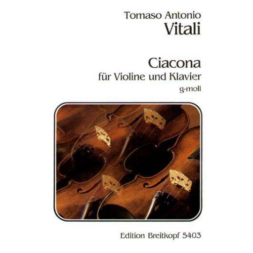 EDITION BREITKOPF VITALI TOMMASO - CHACONNE G-MOLL - VIOLIN, PIANO