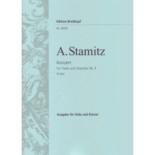 EDITION BREITKOPF STAMITZ ANTON - VIOLAKONZERT NR. 3 G-DUR - VIOLA, PIANO