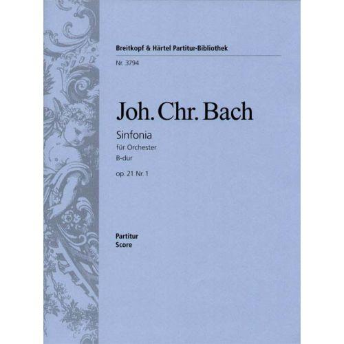 EDITION BREITKOPF BACH JOHANN CHRISTIAN - SINFONIA B-DUR OP. 21/1 - ORCHESTRA