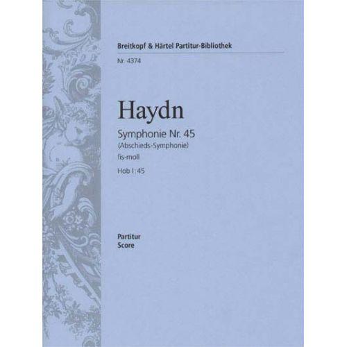 EDITION BREITKOPF HAYDN JOSEPH - SYMPHONIE FIS-MOLL HOB I:45 - ORCHESTRA