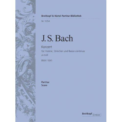 EDITION BREITKOPF BACH JOHANN SEBASTIAN - VIOLINKONZERT A-MOLL BWV 1041 - VIOLIN, STRINGS, BASSO CONTINUO