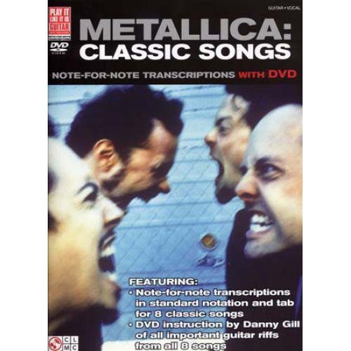 CHERRY LANE METALLICA - CLASSIC SONGS + DVD - GUITAR TAB