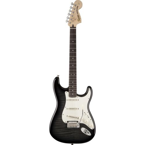 SQUIER BY FENDER STRATOCASTER FLAME MAPLE TOP EBONY TRANS STANDARD