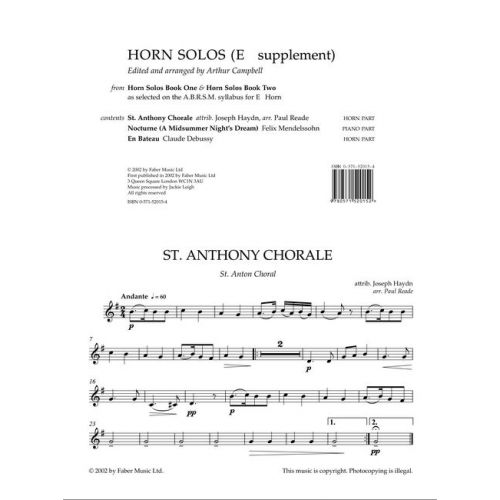FABER MUSIC CAMPBELL ARTHUR - HORN SOLOS - BOOKS 1 & 2 (EB SUPPLEMENT) - TENOR HORN AND PIANO