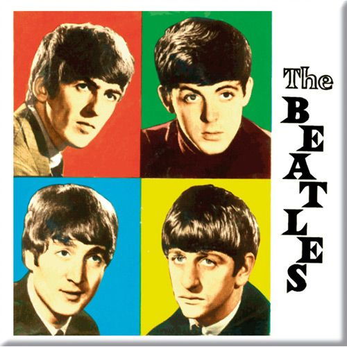 WOODBRASS CLUB MAGNET AIMANT BEATLES MOTIF: THE BEATLES IN COLOURED BOXES - 7,6 CM X 7,6 CM