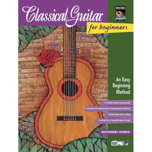 ALFRED PUBLISHING GUNOD NATHANIEL - CLASSICAL GUITAR FOR BEGINNERS BOOK + CD - GUITAR