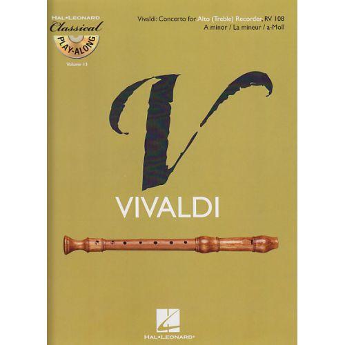 HAL LEONARD VIVALDI A. - CONCERTO EN LA MINEUR RV 108 + CD - FLUTE A BEC ALTO