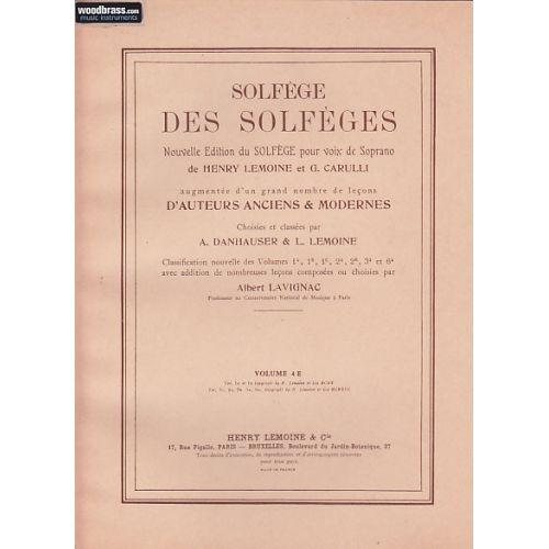 LEMOINE LAVIGNAC ALBERT - SOLFEGE DES SOLFEGES VOL.4E AVEC ACCOMPAGNEMENT
