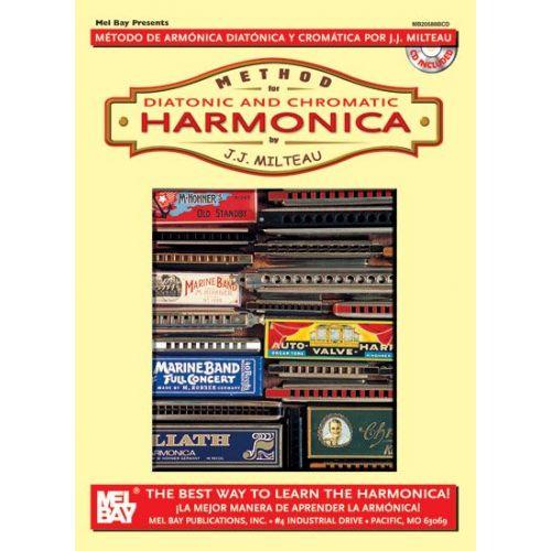 MEL BAY MILTEAU JEAN JACQUES - METHOD FOR DIATONIC AND CHROMATIC HARMONICA + CD - HARMONICA