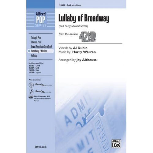 ALFRED PUBLISHING DUBIN WARREN - LULLABY OF BROADWAY SAB - MIXED VOICES